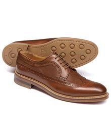 Tan Eastcott wing tip brogue Derby shoes