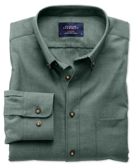 Extra slim fit non-iron twill forest green shirt