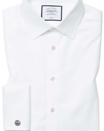 Chemise blanche en twill coupe droite sans repassage