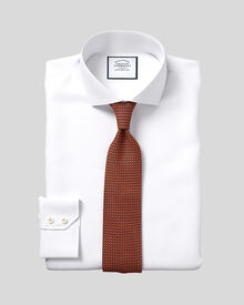 Slim fit cutaway collar Egyptian cotton poplin white shirt