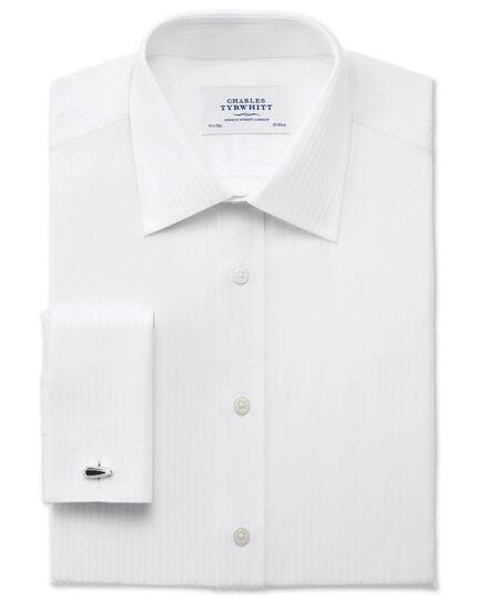 Classic fit satin stripe white shirt