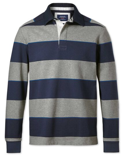 Navy Grey And Blue Stripe Long Sleeve Rugby Shirt