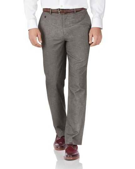Light brown classic fit cotton flannel herringbone trousers