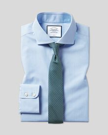 Slim fit spread collar non-iron Bengal stripe sky blue shirt