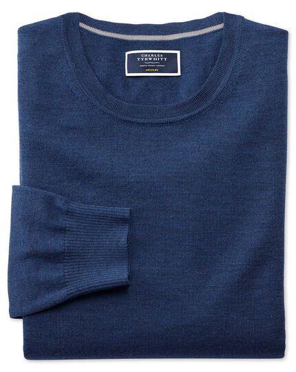 Mid blue merino wool crew neck sweater