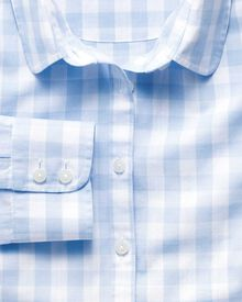 Women's semi-fitted cotton check blue shirt