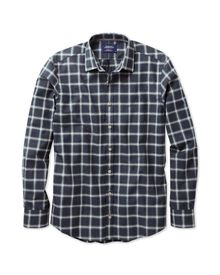 Extra slim fit navy and grey overcheck heather shirt