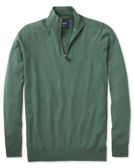 Mid green cotton cashmere zip neck sweater