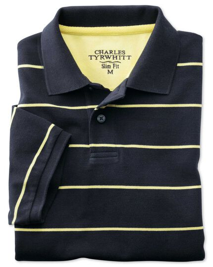 Slim fit navy striped pique polo