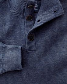 Indigo blue heather button neck jumper