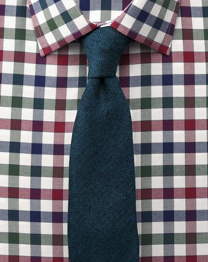 Classic fit country check navy and berry shirt