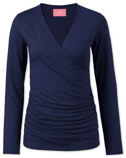 Women's navy jersey wrap top