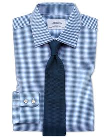 Slim fit small gingham navy shirt
