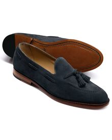 Navy Yardley suede apron tassel loafers