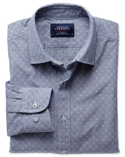 Classic fit navy poplin dobby shirt