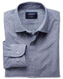 Extra slim fit navy poplin dobby shirt
