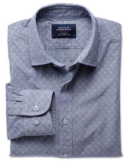 Extra slim fit navy poplin dobby shirt