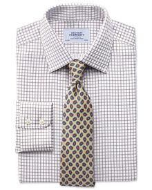Classic fit non-iron windowpane check brown shirt
