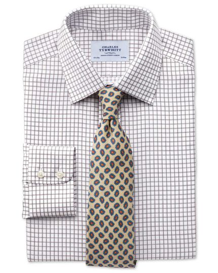 Classic fit non-iron windowpane check brown shirt