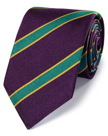 Purple silk super reppe stripe English luxury tie