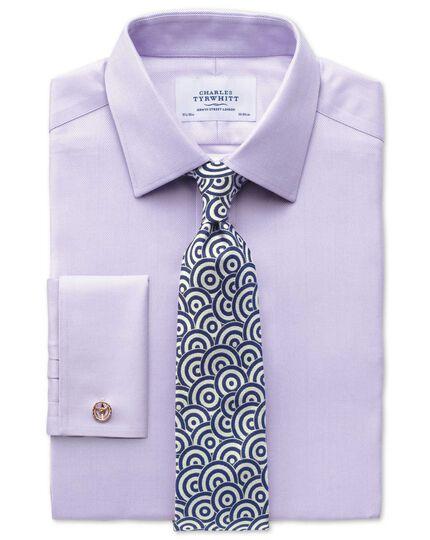 Bügelfreies Classic Fit Hemd in flieder mit Fischgrätmuster