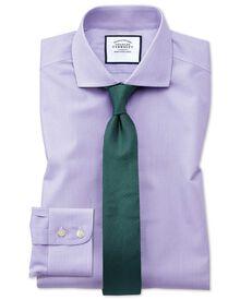 Bügelfreies Extra Slim Fit Hemd mit Haifischkragen in flieder mit Bengal-Streifen