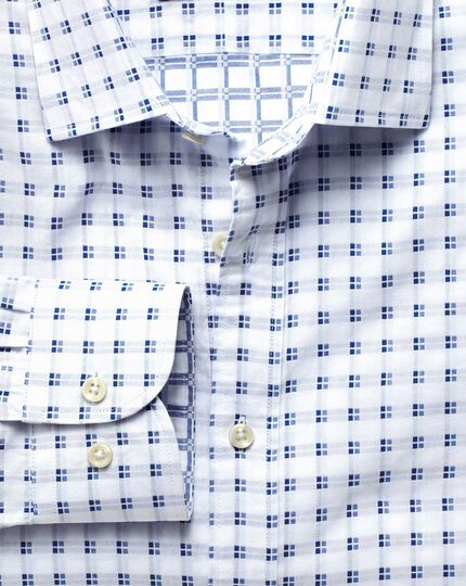Classic fit white and blue double faced shirt