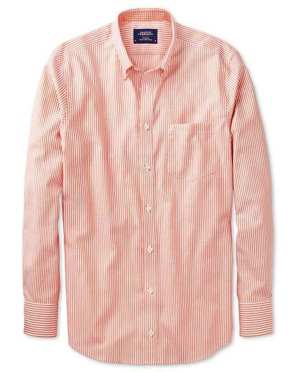 Classic fit non-iron Oxford orange bengal stripe shirt