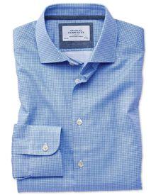 Classic fit semi-cutaway business casual geometric print mid blue shirt