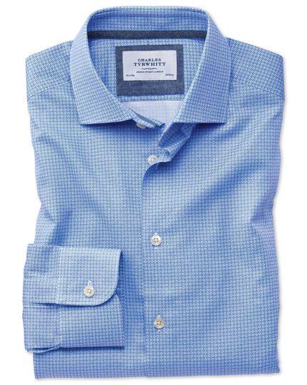Slim fit semi-spread collar business casual geometric print mid blue shirt