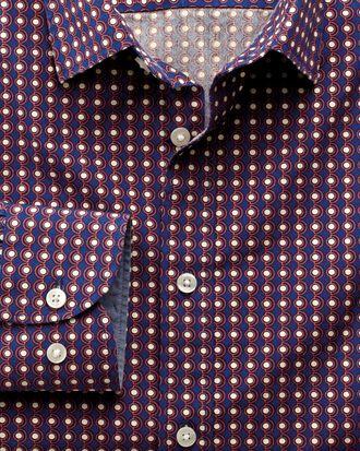 Extra slim fit blue and orange spot print shirt