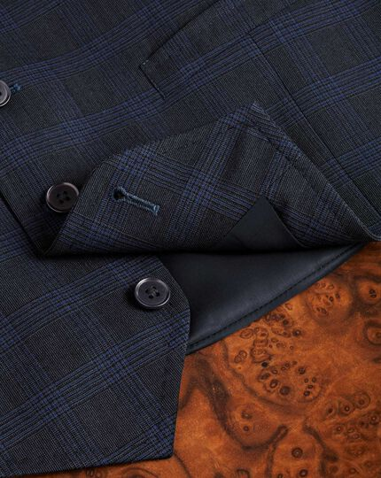 Blue check flannel business suit waistcoat