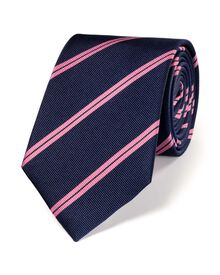 Navy and pink silk classic double stripe tie