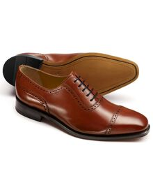 Tan Baxter toe cap brogue Oxford shoes
