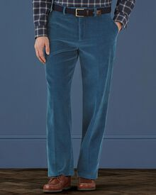 Air force blue classic fit cord trousers