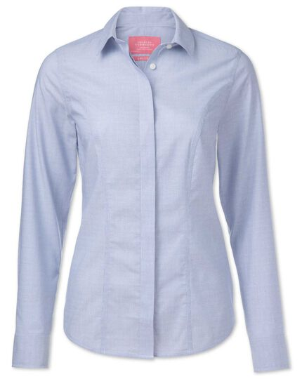 Women's semi-fitted non-iron cotton coupe striped blue shirt
