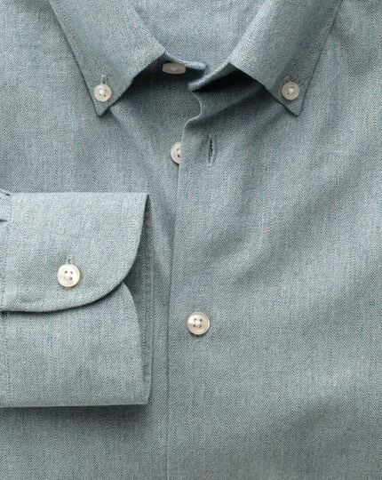 Slim fit button-down collar business casual green shirt