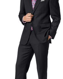 Classic Fit Businessanzug aus Twill in schwarz