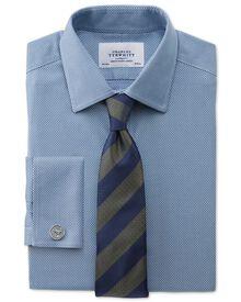 Slim fit non-iron honeycomb mid blue shirt