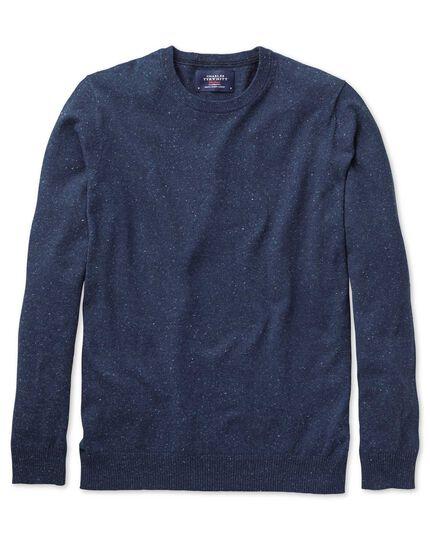 Indigo cotton cashmere crew neck jumper