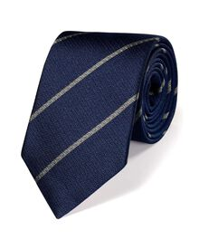 Navy and silver silk classic stripe tie