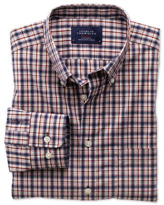 Extra slim fit non-iron poplin blue and orange check shirt