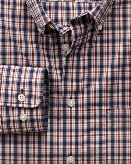 Classic fit non-iron poplin blue and orange check shirt