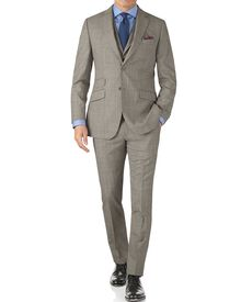 Grey Prince of Wales check slim fit Panama business suit