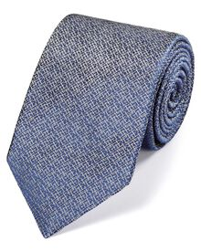Blue and white silk textured luxury tie