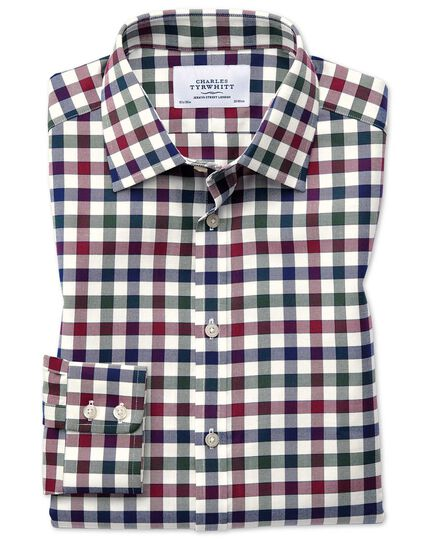 Classic fit country check navy blue and berry shirt