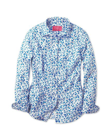 Women's semi-fitted floral print blue shirt