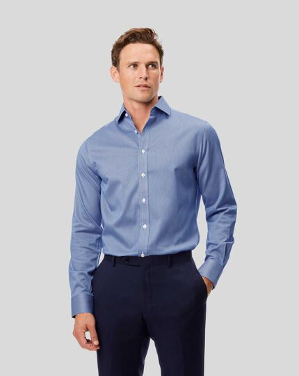Slim fit spread collar non-iron puppytooth royal blue shirt