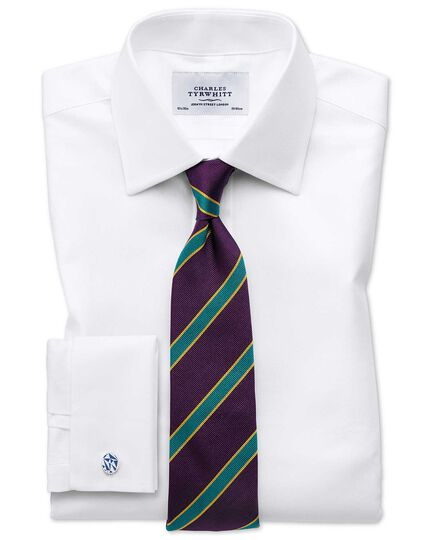 Slim fit Egyptian cotton cavalry twill white shirt