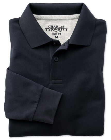 Slim fit navy pique long sleeve polo